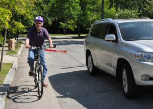 The car shoo improves bicycle safetygi.  It will keep cars 3 feet away. It's like having your own bike lane.  With the car shoo you will not get hit by cars.